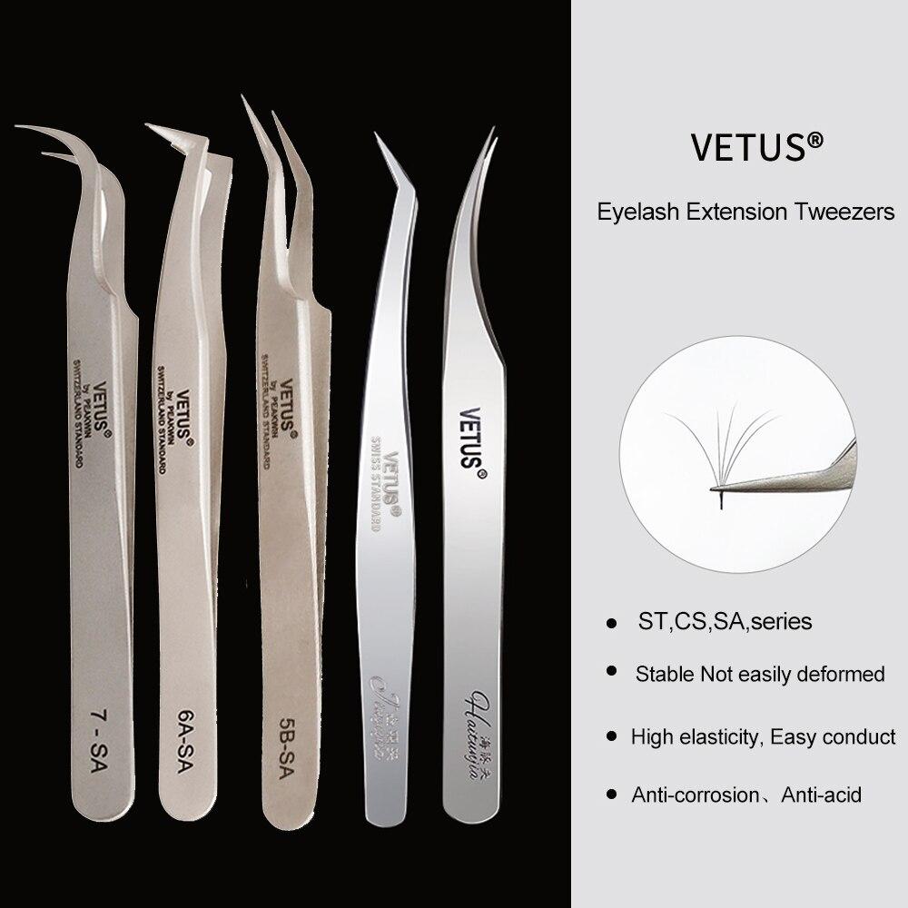 VETUS пинцет для наращивания ресниц из нержавеющей стали пинцеты для наращивания ресниц инструменты для макияжа глаз пинцет для ногтей