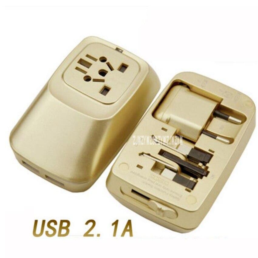 Nova gzwp998 dois porta usb adaptador de carregamento do curso do mundo universal adaptador de tomada internacional tomada tomada de alimentação ca 110 v-240 v 1500 w