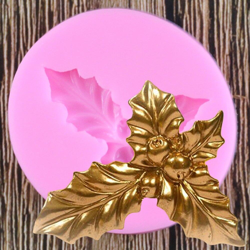 DIY Holly molde de hoja de silicona Fondant moldes para decoración de pasteles herramientas de Chocolate polímero arcilla molde cocina horno moldes