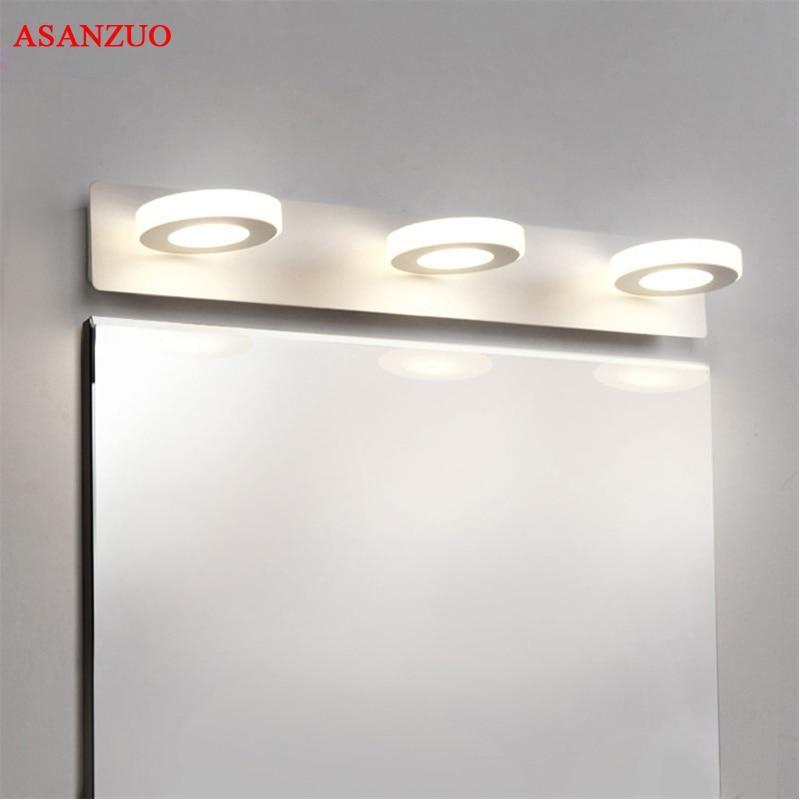 Lámpara de pared de acrílico 110-240V luz LED para espejo con círculo moderno para baño 2 cabezas 3 cabezas 4 cabezas accesorios de iluminación de interior de acero inoxidable