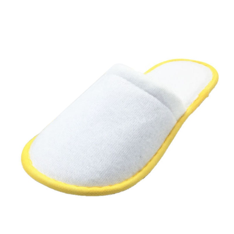 PHFU 5 pairs von Weiß Frottee Hotel Einweg Hausschuhe Terry Spa Gast Schuhe Gelb