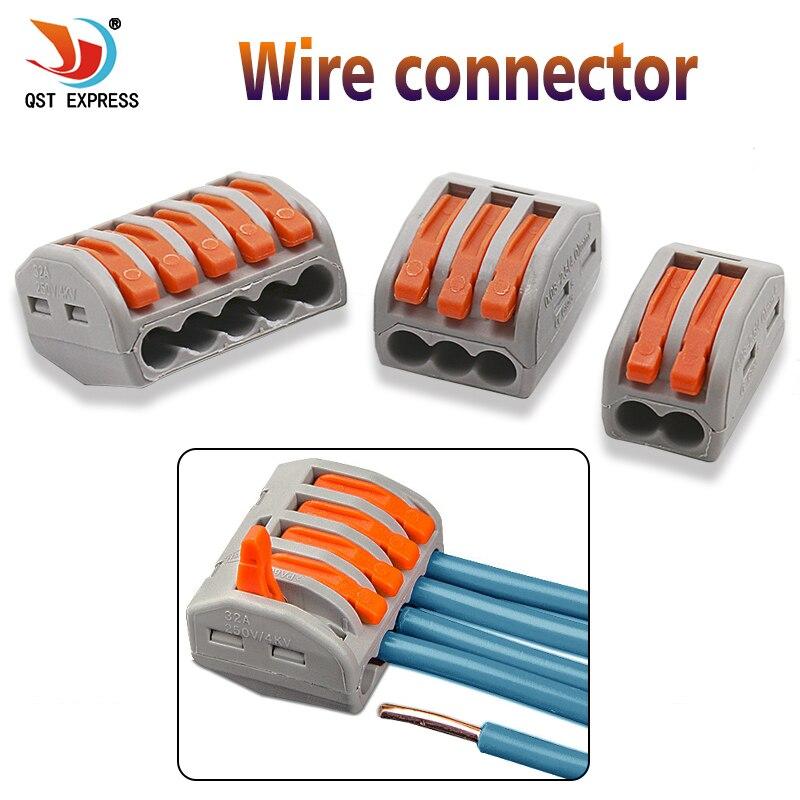 10 pces reusável venda quente útil novo 2/3/5 vias reusável mola alavanca bloco terminal cabo elétrico conector fio