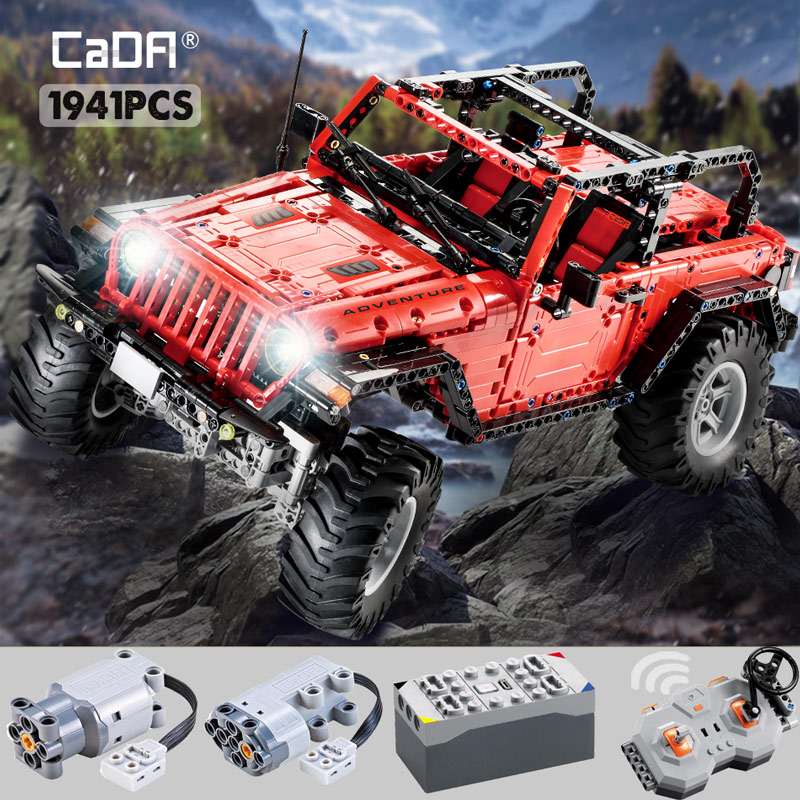 Cada 1941PCS RC 2.4G Adventurer Off Road Car Building Blocks high-tech Battery Motor Jeeped Vehicle Bricks Toys for Kids