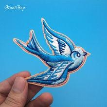 2 pièces/lot volant loiseau bleu Patch broderie fer sur patchs pour vêtements robes bricolage accessoire SC3287