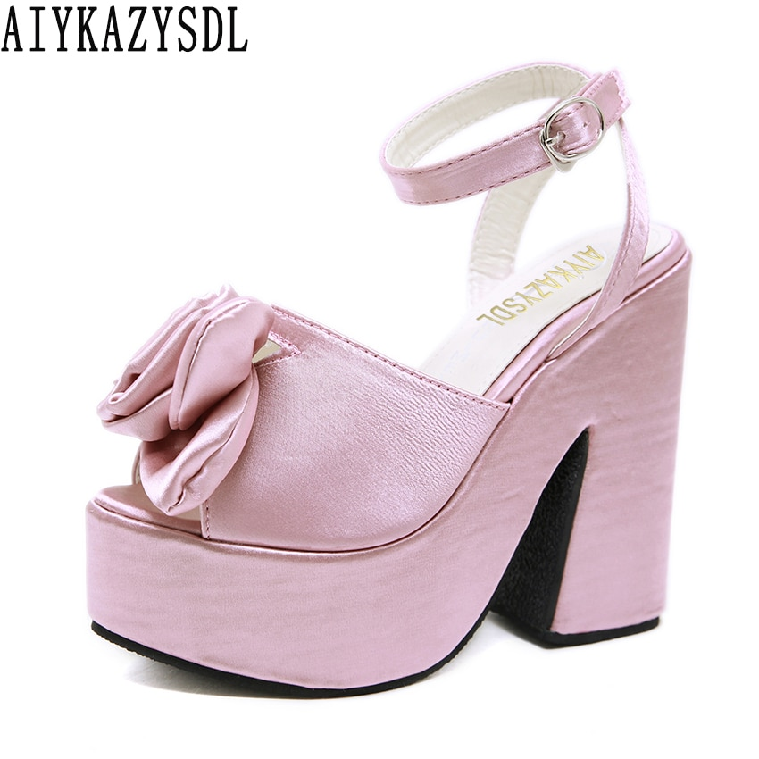 AIYKAZYSDL Women 3D Flower Floral Bohemia Sandals Wedding Bridal Satin Silk Shoes Platform Chunky Block Ultra High Heels 2019