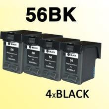4x pour 56 C6656A 56xl cartouche dencre compatible pour imprimante hp56 Photosmart 7150/7155/7550/7660/7760/7960
