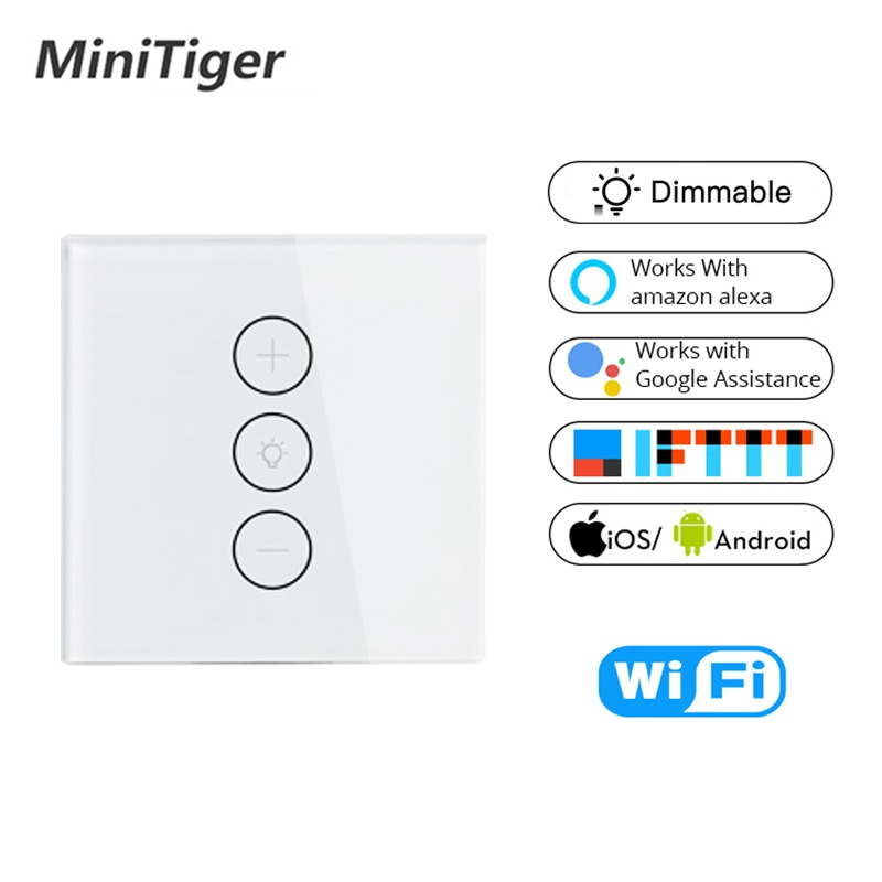 Tuya Smart Life Wifi Smart Wall Touch Light Dimmer Switch 1 Gang EU/UK Standard APP Remote Control Work with Amazon Alexa Google
