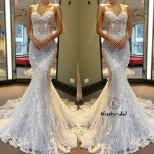 Nuevos vestidos de novia de encaje Vintage 2018 escote corazón novia sirena romántica vestidos de novia corsé espalda