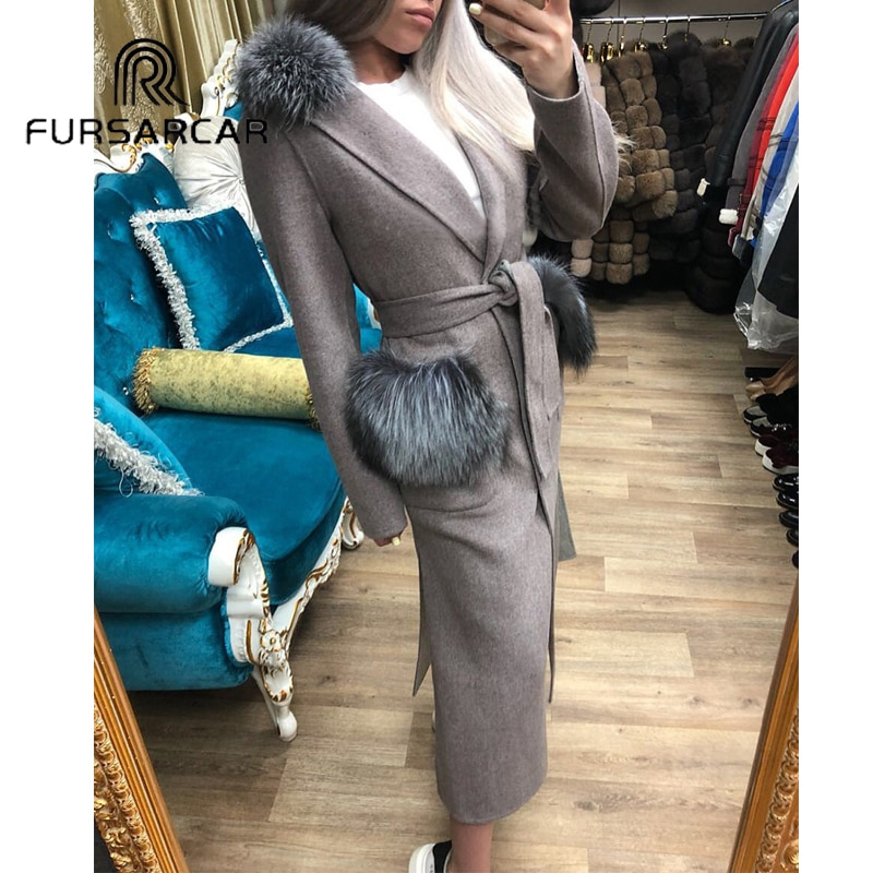 FURSARCAR Real Fur Coat Women Winter Luxury Woolen Skin Fur Coat With Silver Fox Fur Collar 120 CM Long Whole Skin Fur Coat