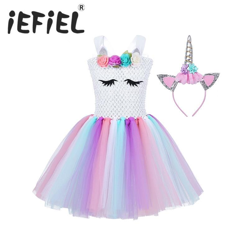 Cosplay de vestido de princesa para niños y niñas, disfraz de Halloween para niños, vestido a la altura de la rodilla, ropa de Carnaval de fiesta elegante