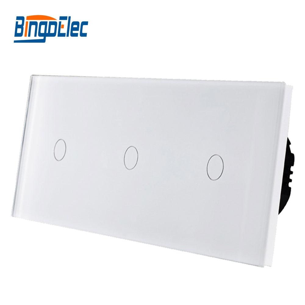 Bingoelec Triple 1+1+1Gang 1/2 Way Touch Light Switch Luxury Tempered Crystal Glass Panel EU Standard Wall Switch,86*228mm 800W