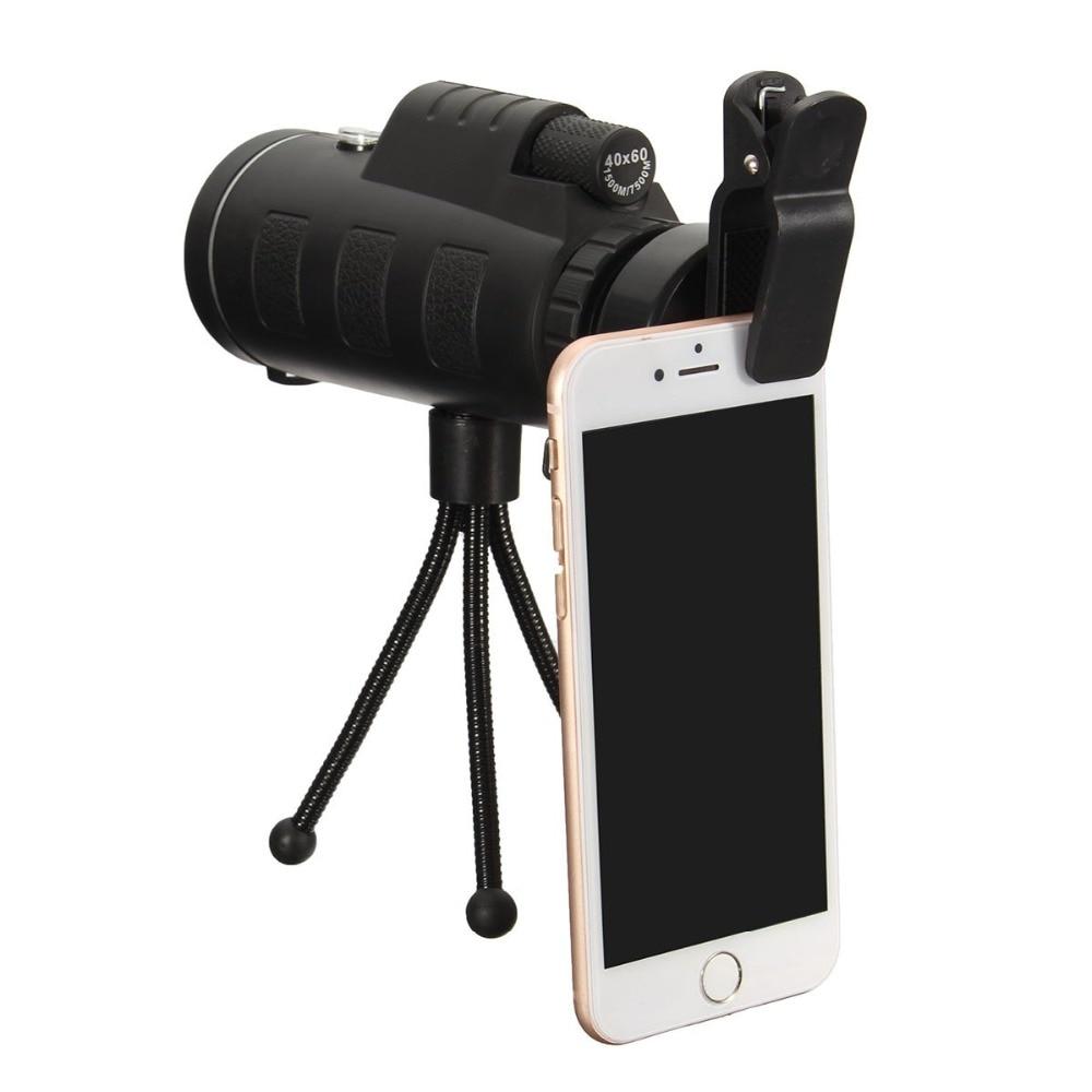 UVR 40X60 Zoom HD Dual para enfoque Prisma óptico Monocular lente telescopio con Clip de trípode para teléfonos inteligentes fotografía ajustable