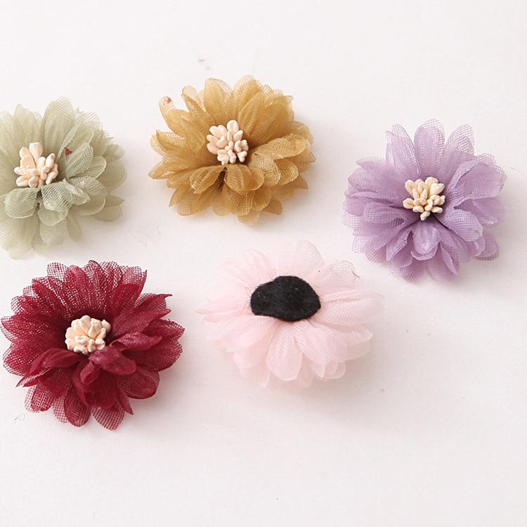 Korean chiffon hair Flower For Kids Girls with stamen Hair Accessories Handmade Fabric Flowers For Headbands