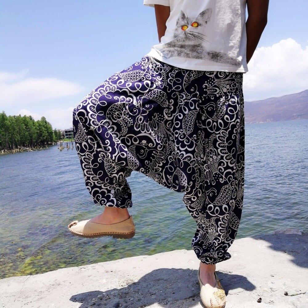 20 Print Thai Hüfte Hop Aladdin Hmong Baggy Baumwolle Leinen Pluderhosen Hose Männer Plus Größe Breite Bein Hosen Boho Casual hosen Kreuz-hosen