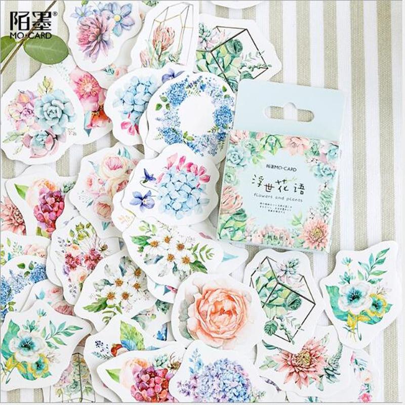 46 unids/caja lindo diario japonés coreano papel diario pegatinas de flores Scrapbooking papelería Teacher útiles escolares