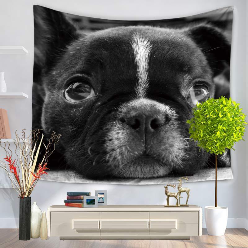 Linda pintura Animal Pug perro colgante de pared gobelino tapicería de poliéster impresión suave pared tela tapices decoración manta alfombra
