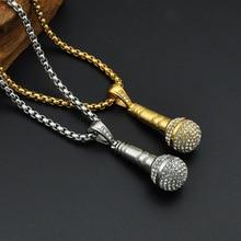 Hiphop/Rock Punk Microphone collier & pendentif hommes/femmes en acier inoxydable or/argent couleur bijoux en gros