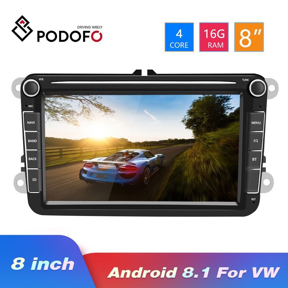 Podofo Auto Radio Android 8.1 2Din Car Multimedia Video MP5 Player GPS Car Radio Stereo 8Audio For Seat/Skoda/Passat/Golf/Polo