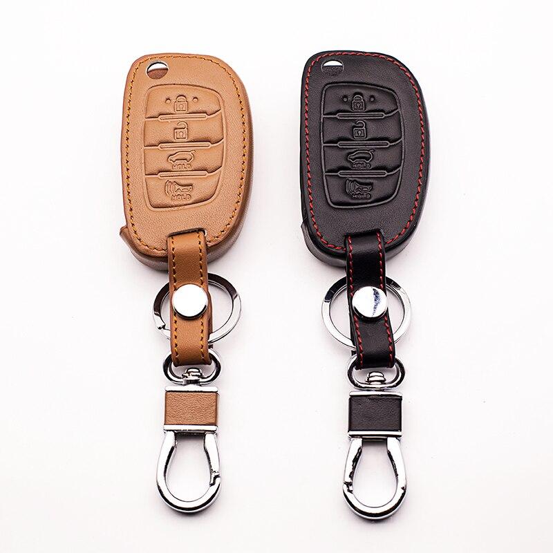 4 botões de couro do carro caso chave para hyundai ix35 i ix25 i10 i20 sotaque elantra ix35 ix45 4 botões de couro do carro remoto caso chave