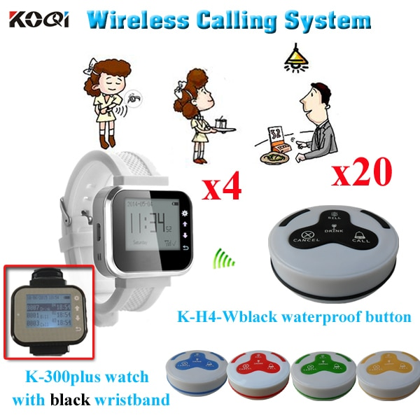 Wireless Service Call Button System Pager K-300plus Watch And 4-key Button K-H4 (4pcs watch pager + 20pcs call bell )