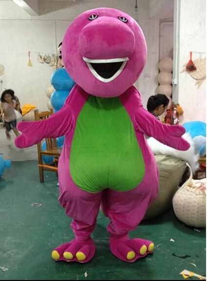 Disfraces grandes de alta calidad de la mascota de la historieta de Barney en tamaño adulto, Envío Gratis, regalos de vacaciones, disfraces de la mascota