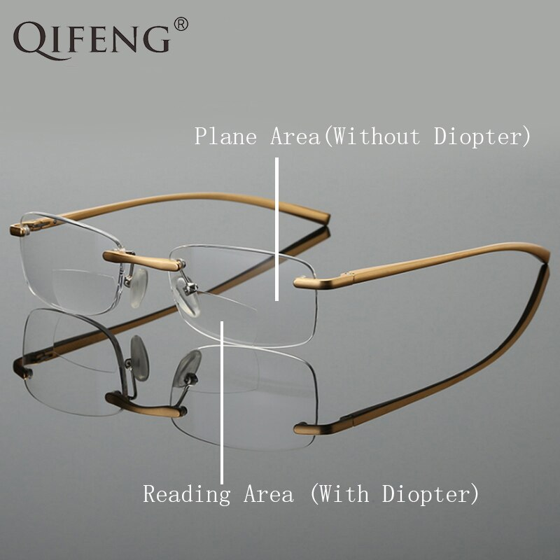 QIFENG Bifocal Reading Glasses Men Women Rimless Presbyopic Eyeglasses Male Female Eyewear +1.0+1.5+2.0+2.5+3.0+3.5+4.0 QF264