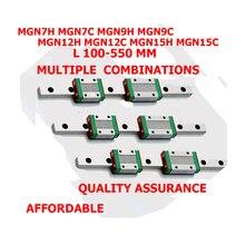 Cnc Pièces MGN7 MGN12 MGN15 MGN9 100 150 200 250 300 350-550mm Miniature Rail Linéaire Glissière 2pcMGN9 Linéaire Guide + 4pcMGN9H Transport