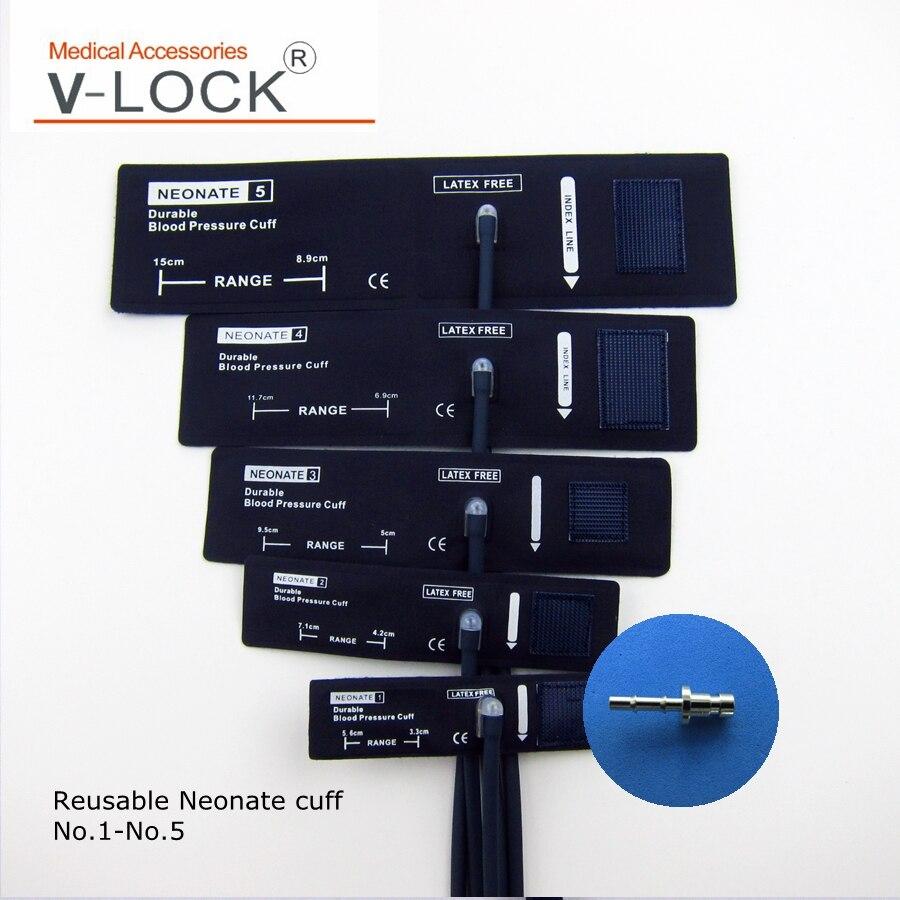 Envío Gratis, juego de puños nibp reutilizables de color azul marino con conector de 5 tamaños LC-47