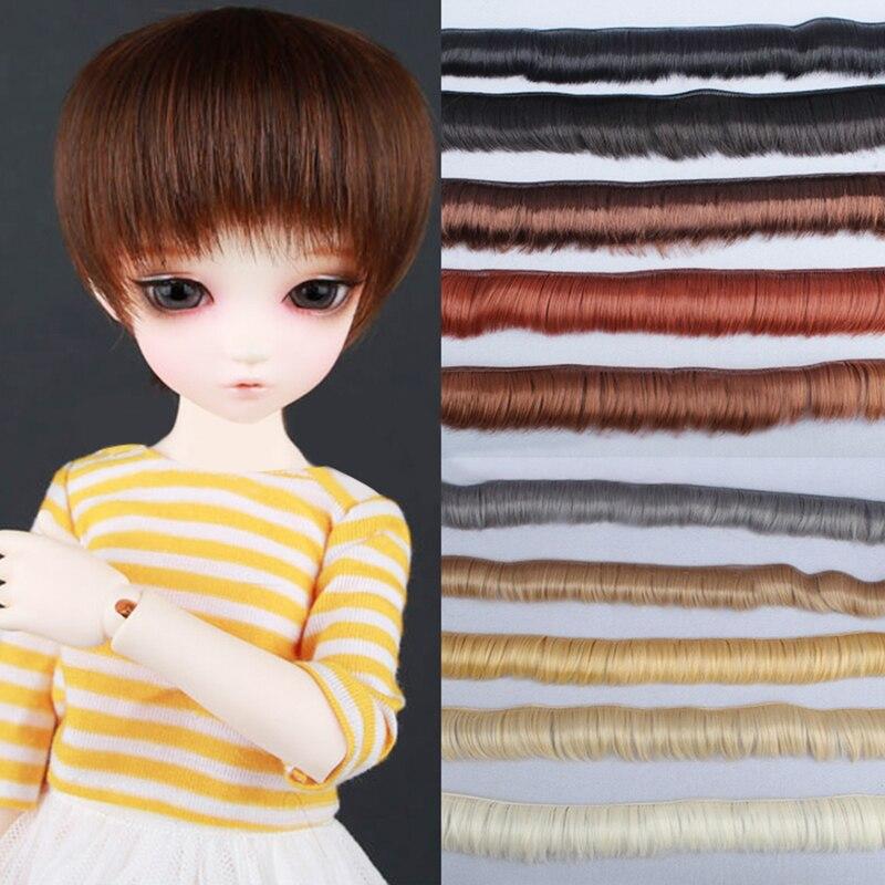 5*100cm para el pelo de la franja de muñeca BJD SD negro falxen soplado caqui DIY pelucas hechas a mano corto rizado muñeca peluca con flequillo tress muñeca Accesorios