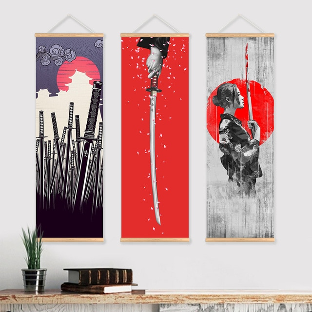 JIE DO ART Samurai japonés rollo pintura lienzo impresión cartel con suspensión de madera arte de la pared sala de estar dormitorio hogar