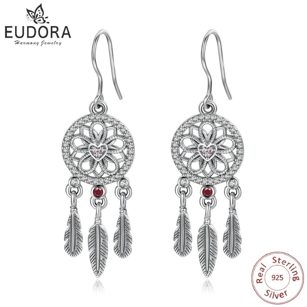 EUDORA Unique Real 925 Sterling Silver Dream catcher Earring Romantic Feather Dangle  Drop Earring Women Fine Jewelry Gift E81
