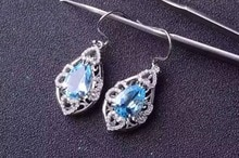 natural blue topaz stone drop earrings 925 silver Natural gemstone earring women personality Elegant water drop Earrings