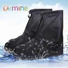 Demine 방수 신발 커버 야외 스포츠 미끄럼 방지 재사용 가능한 레인 신발 내부 방수 레이어 발목 부츠 커버