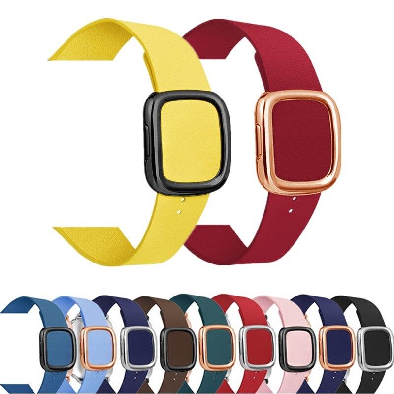 Correa de bucle de cuero para apple watch band 5 4 44/40mm estilo moderno pulsera accesorios de pulsera para iWatch Serie 3/2/1 42/38mm