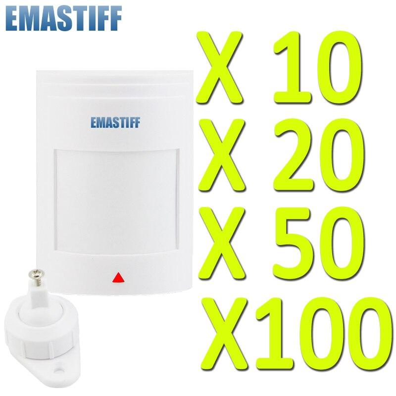 الجملة 10/20/50/100 قطعة/دفعة ، مثبت على الحائط ، كاشف الحركة بالأشعة تحت الحمراء ، GSM PSTN ، نظام إنذار أمن المنزل