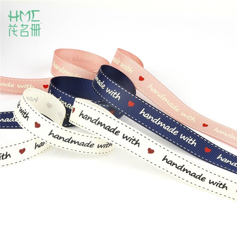 "Cinta de 3/5 yardas en blanco/rosa/azul marino ""hecho a mano"", cinta de satén para otomán impresa con letras para bricolaje artesanías hechas a mano cinturón para regalo, embalaje"