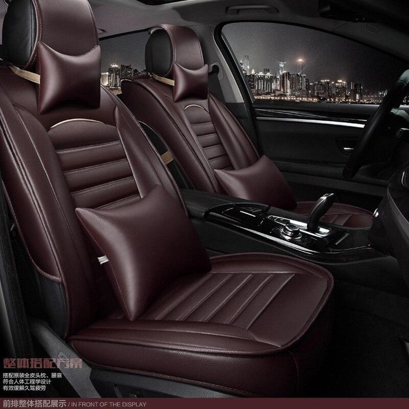 Para TOYOTA Corolla RAV4 Highlander PRADO, Yaris Prius Camry, Funda de cuero para asiento de coche, conjunto completo de funda de cojín para coche
