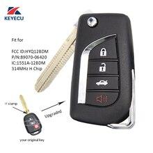 Porte-clés de rechange KEYECU pour Toyota RAV4 Prius C/V 314-2014 HYQ12BDM   Porte-clés à télécommande rabattable amélioré 3 + 1 boutons H 2016 MHz pour Toyota RAV4 Prius C/V-HYQ12BDM