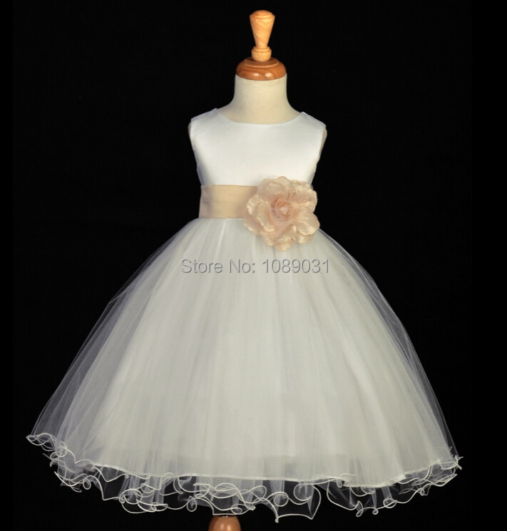 2018 new children s costumes sixty one high end custom flower girl dresses 2 14year gift children s performing princess dress New Real Flower Girl Dresses with Sashes Party Pageant Communion Dress Little Girl Kids/Children Princess Dress for Wedding