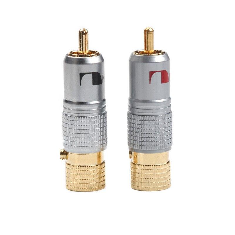 2 uds NAKAMICHI 10mm RCA enchufe chapado en oro bloqueo sin soldadura enchufe RCA Coaxial adaptador de alta calidad
