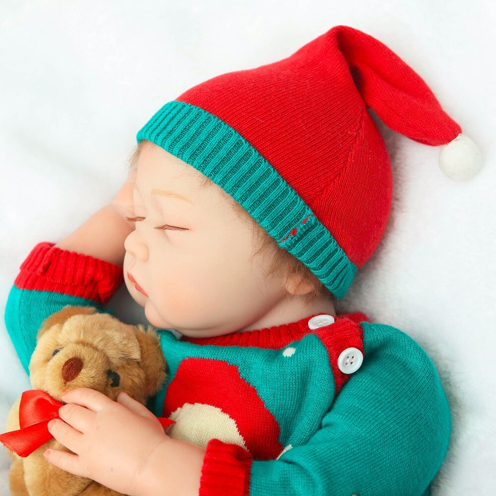 "NPK 22"" 55cm reborn dolls soft silicone vinyl baby dolls bebe princess reborn bonecas nice clothing bear plush doll gift"