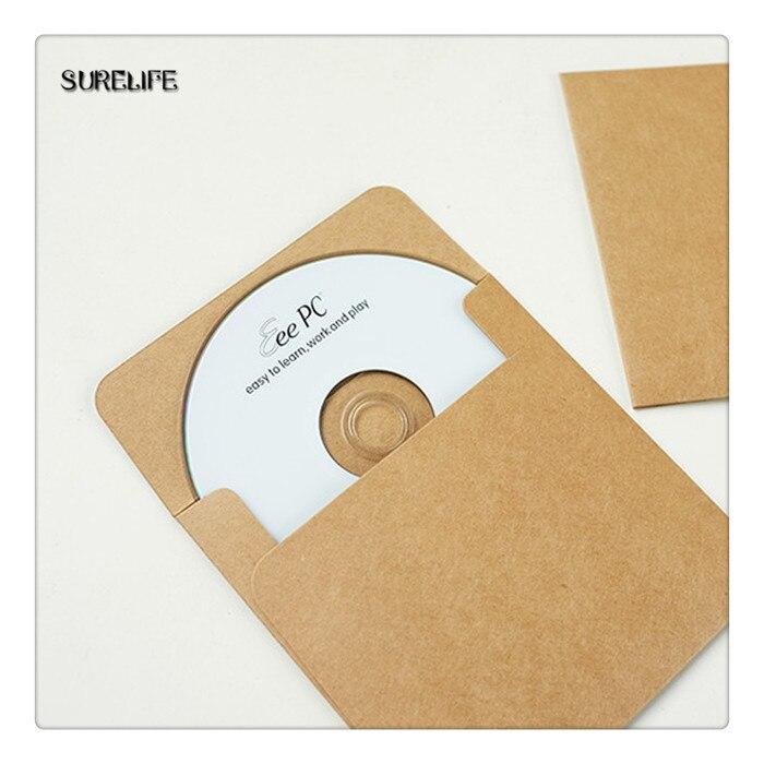 50/100 Uds marrón estuche de Papel Kraft para discos en blanco sobres de Kraft Natural Kraft liso de regalo de papel sobre CD/DVD de la bolsa de papel