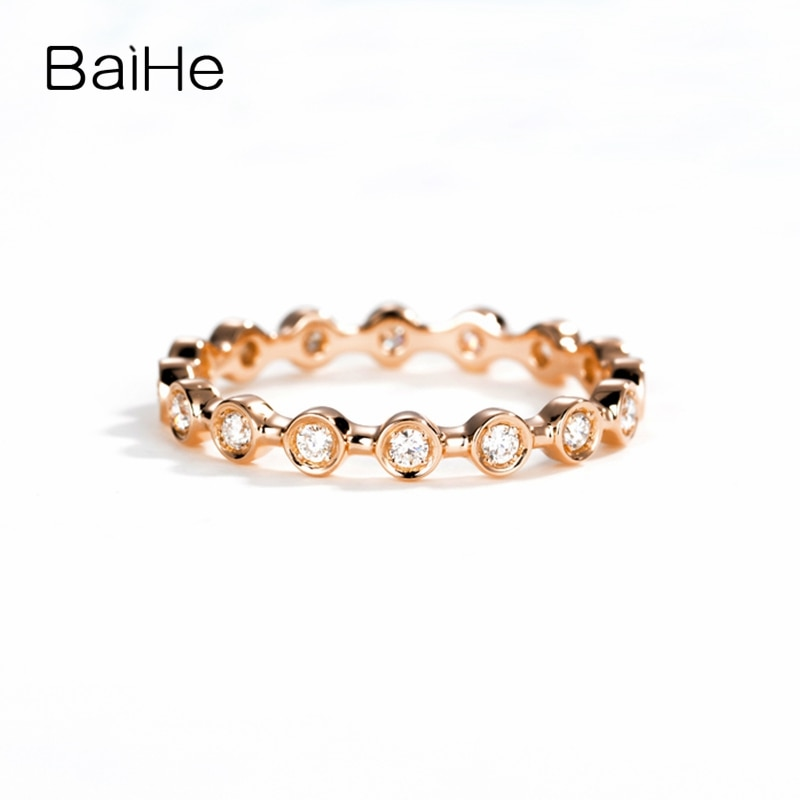 BAIHE-خاتم زواج من الذهب الوردي عيار 14 قيراطًا ، خاتم خطوبة مرصع بالألماس الطبيعي المستدير ، 0.25 قيراط-0.30 قيراط ، مجوهرات راقية ، ماس