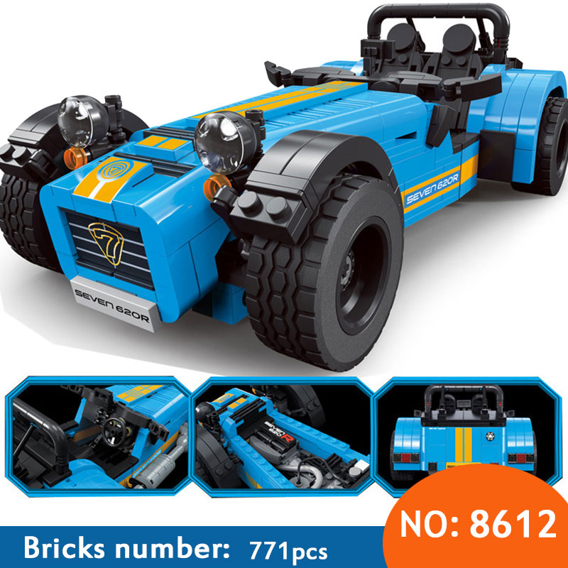 8612 ideas racers Caterham Seven 620R Sports Car And F430 Sports Model Toys Blocks Brick children