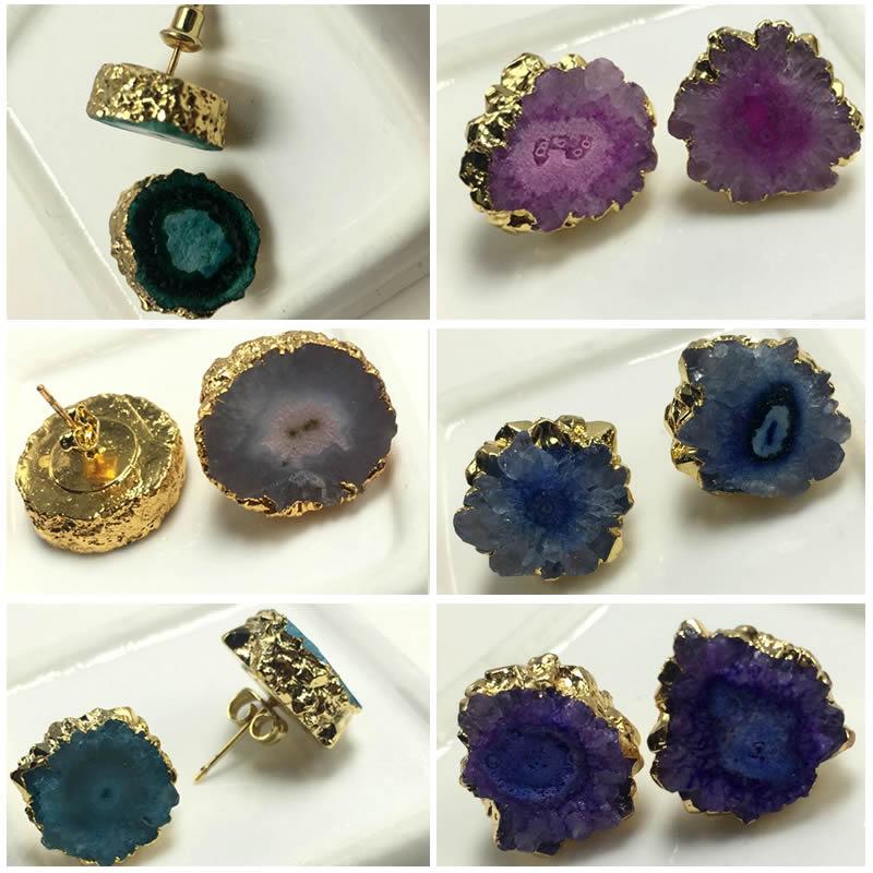 Moda punk feminino brincos de ouro cor arco-íris sol flor pedra quartzo pedra brincos charme jóias por atacado 1 pçs