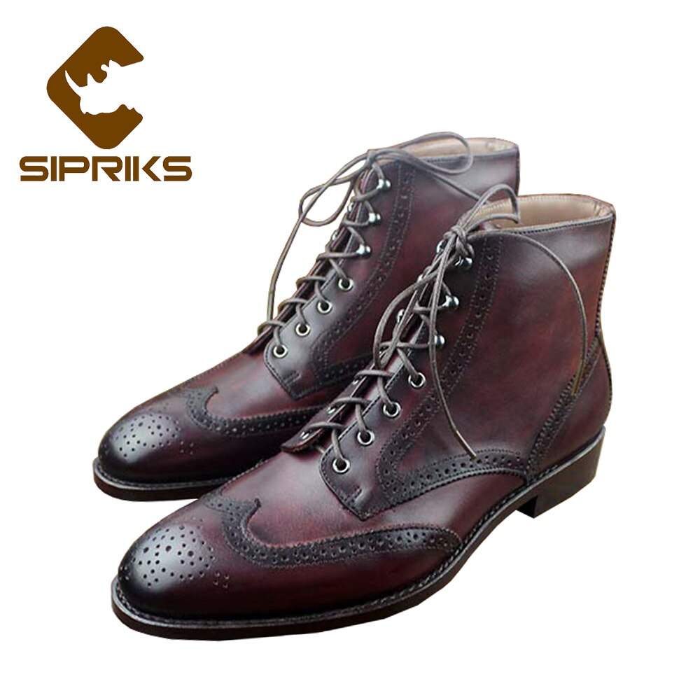 Sipriks-أحذية عمل أمريكية كلاسيكية للرجال ، أحذية فاخرة بمقدمة مدببة 45 ، لون خمري