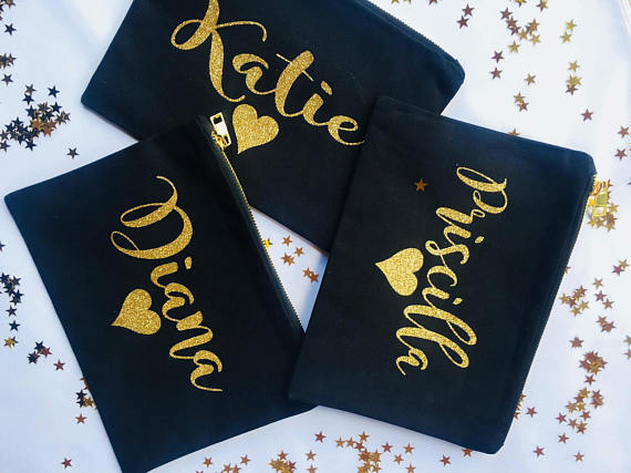 customize names wedding bridal Bridesmaid Makeup Gift Make Up comestic Bags kits zipper pouches Clutches Birthday gifts present