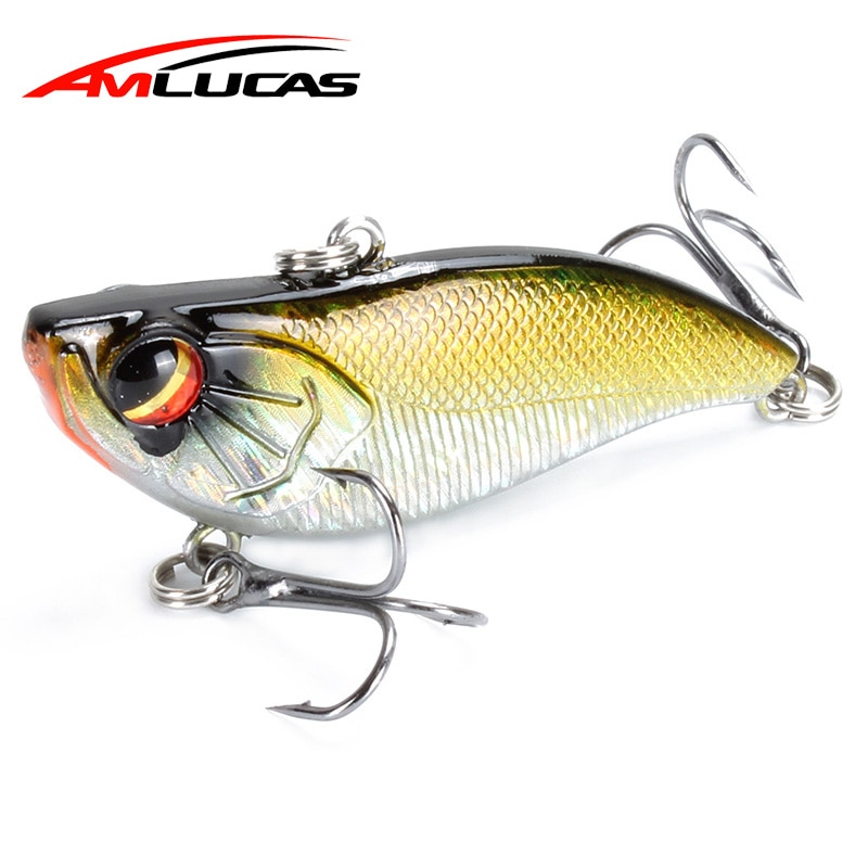 Amlucas Fishing Lure Sinking VIB Lipless Crankbaits 60mm 13.9g Hard Artificial Vibration Bait Winter Ice Fishing Tackle WE1201