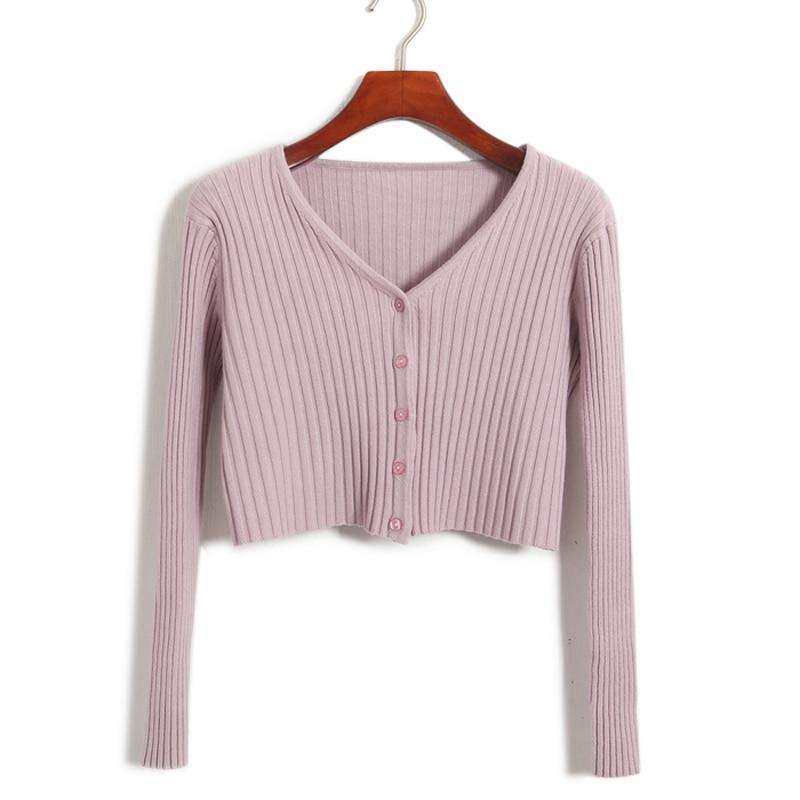 2016 spring V-neck stripe short design long-sleeve cardigan sweater women slim high waist coat