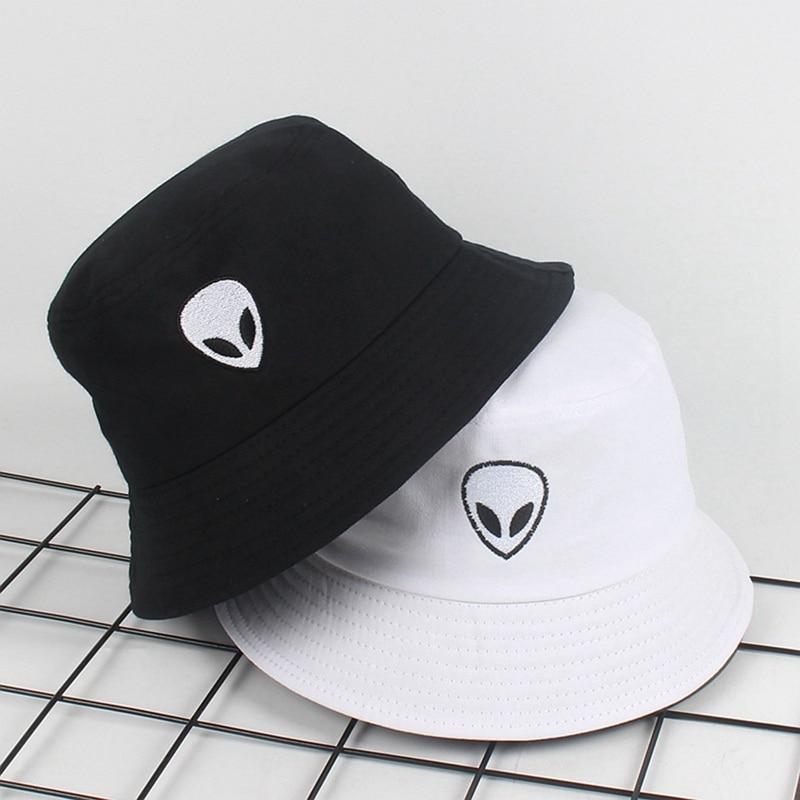 2019 preto Sólido Branco Alienígena Bucket Hat Unisex Bob Bonés Hip Hop Gorros Panamá Cap Homens Mulheres Summer Beach Sun chapéu de pesca